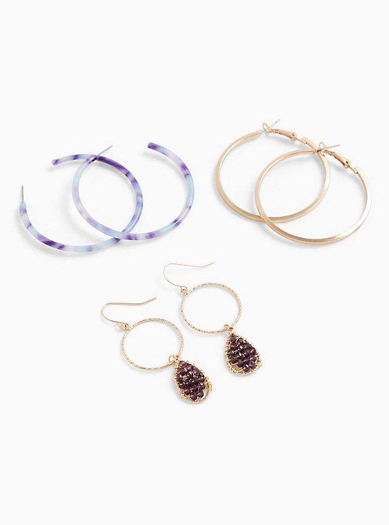 Gold-Tone & Purple Resin Hoop Earrings Set - Set of 3, , hi-res