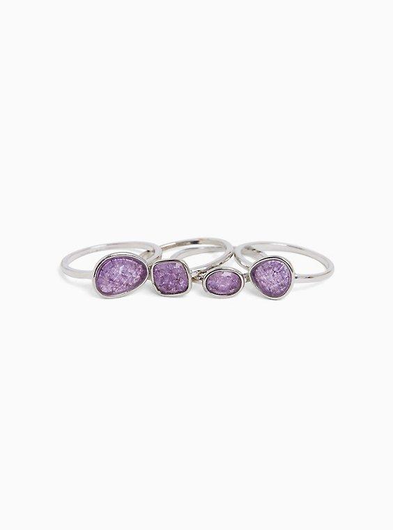 Silver-Tone & Purple Faux Stone Ring Set - Set of 4, , hi-res