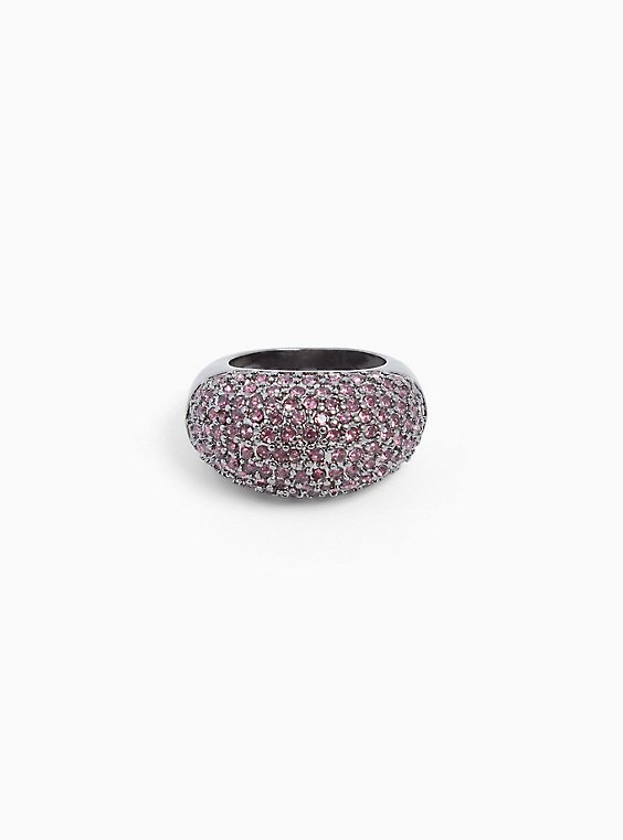 Silver-Tone Purple Pavé Statement Ring, , hi-res