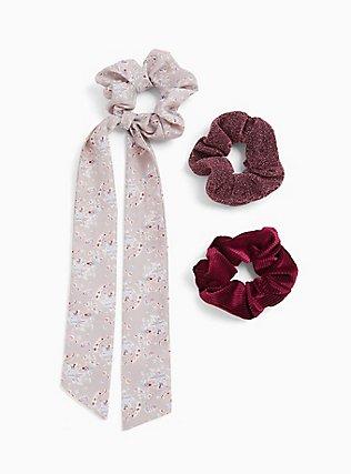 Paisley Scarf Hair Tie Pack - Pack of 3, , hi-res