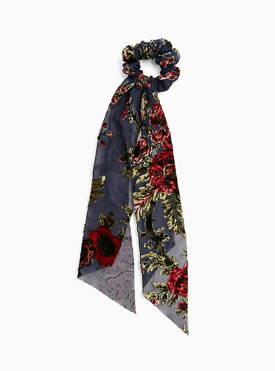 Black Velvet Burnout & Floral Scarf Hair Tie, , hi-res