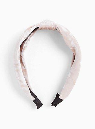 Light Pink Velvet Top Knot Headband, , hi-res
