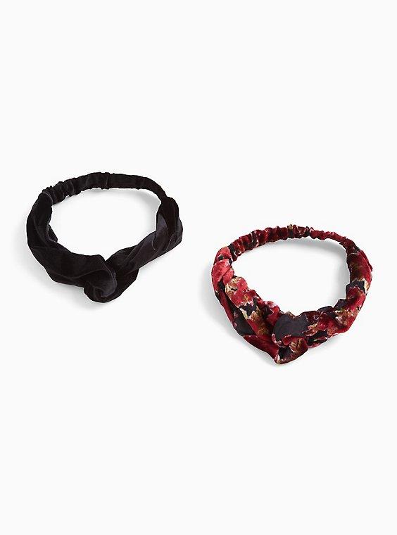 Velvet Top Knot Headband Pack - Pack of 2, , hi-res