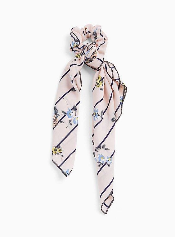 Black Stripe & Floral Chiffon Scarf Hair Tie, , hi-res