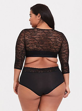 Plus Size Black Lace Elbow Sleeve Under-It-All Crop Top, RICH BLACK, alternate