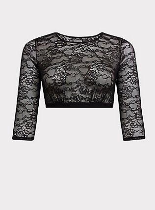 Plus Size Black Lace Elbow Sleeve Under-It-All Crop Top, RICH BLACK, flat