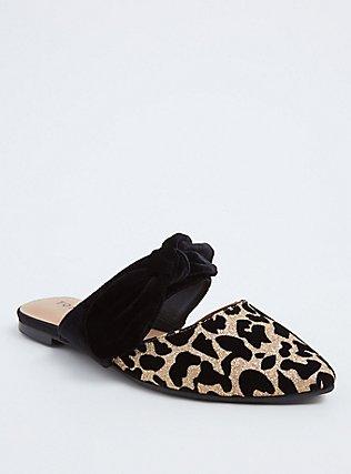 Leopard Glitter Bow Strap Slip-On Mule (Wide Width), BLACK, hi-res