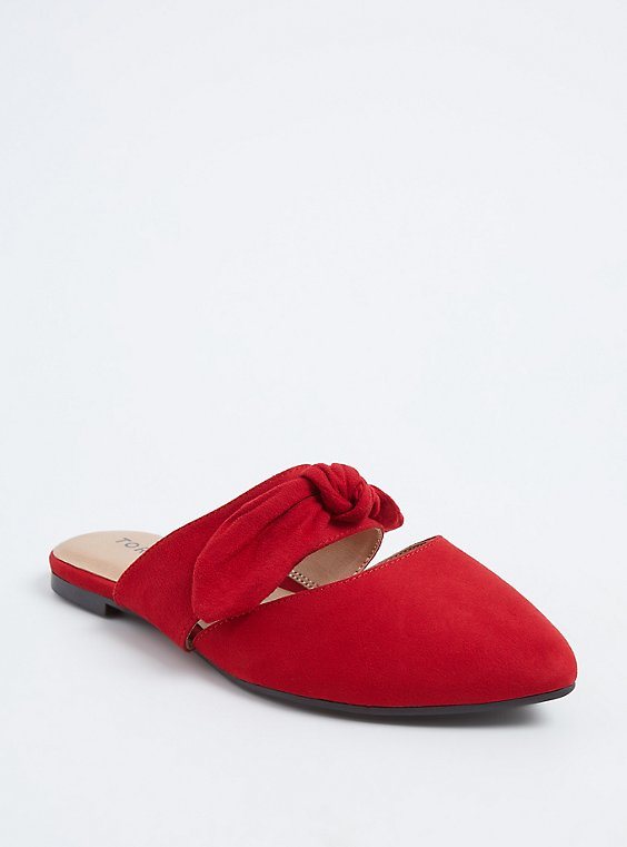 Red Faux Suede Bow Strap Slip-On Mule (Wide Width), , hi-res