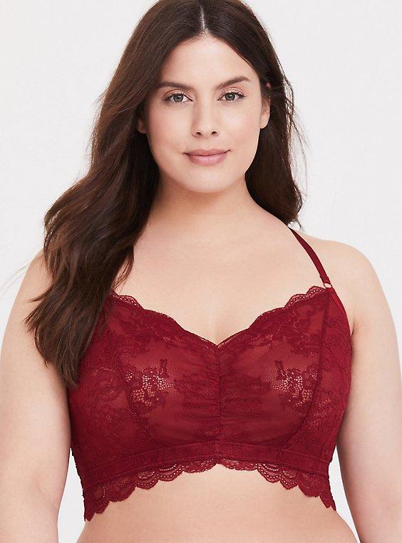 Dark Red Lace Racerback Bralette, , hi-res