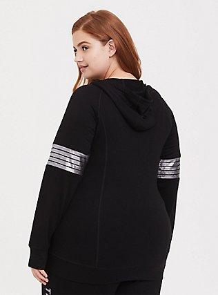 Plus Size Disney Mickey Mouse Black Active Zip Hoodie, DEEP BLACK, alternate