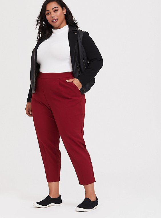 High Rise Ankle Pant - Dark Red, , hi-res