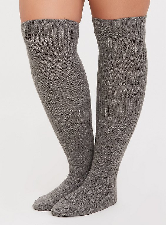 Grey Over-the-Knee Sock Pack - Pack of 2, , hi-res