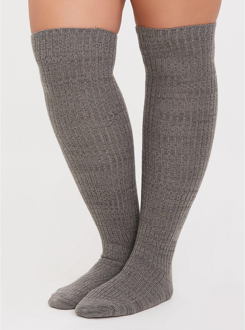 Grey Over-the-Knee Sock Pack - Pack of 2, MULTI, hi-res