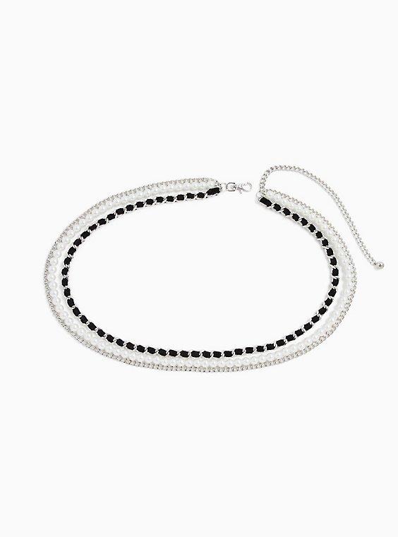 Silver-Tone Pearl & Chain Velvet Belt, , hi-res