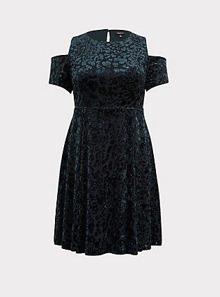 Green Velvet Burnout Cold Shoulder Skater Dress, GREEN, flat