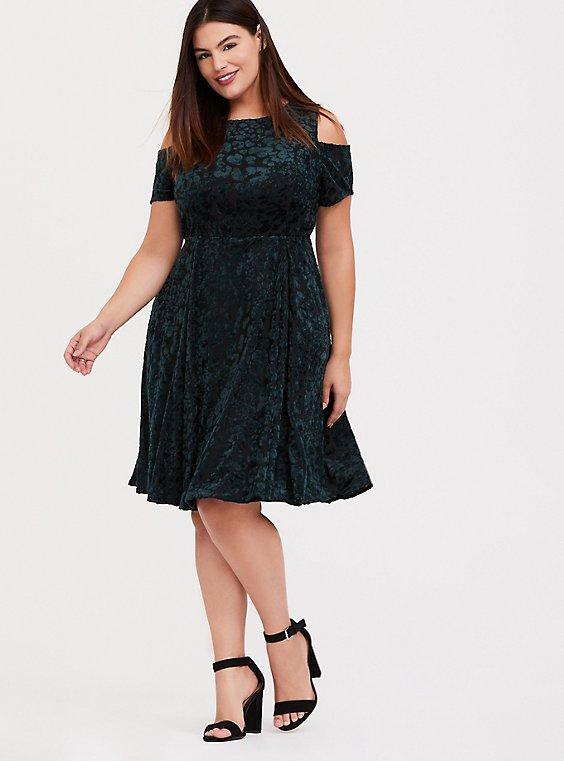 Green Velvet Burnout Cold Shoulder Skater Dress, , hi-res