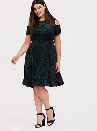 Green Velvet Burnout Cold Shoulder Skater Dress, GREEN, hi-res