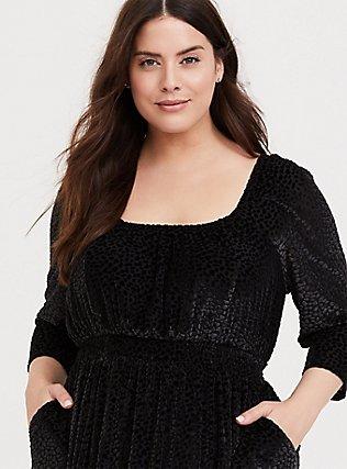 Black Mesh Flocked Skater Dress, DEEP BLACK, alternate