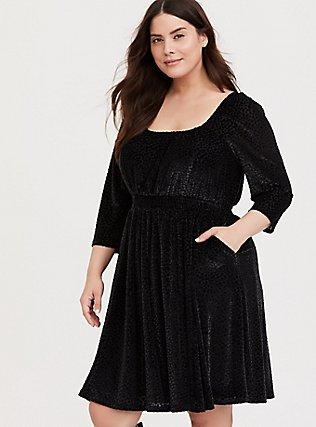 Black Mesh Flocked Skater Dress, DEEP BLACK, hi-res
