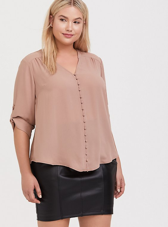 Harper - Tan Georgette Button-Loop Blouse, , hi-res