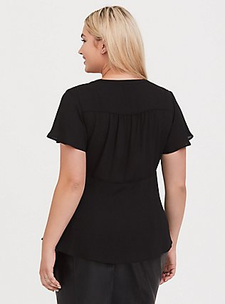 Black Georgette Peplum Tie-Front Blouse, DEEP BLACK, alternate