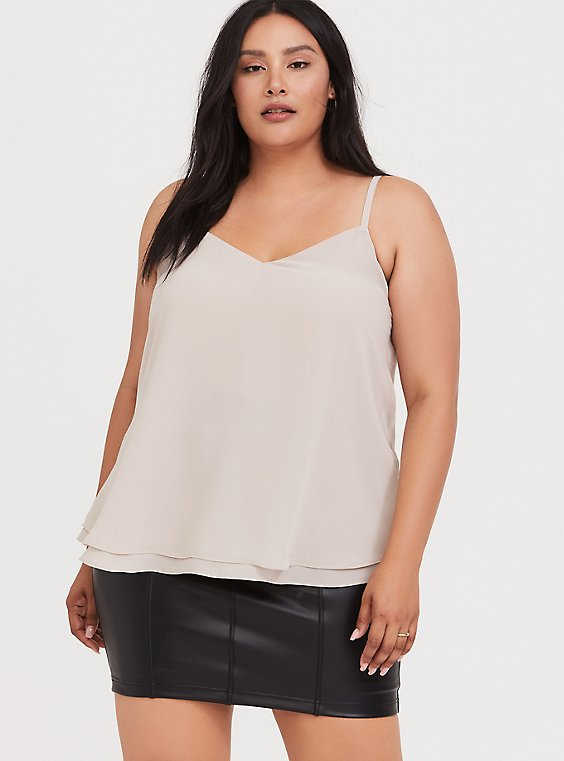 Plus Size Sophie - Taupe Chiffon Double Layer Swing Cami, , hi-res