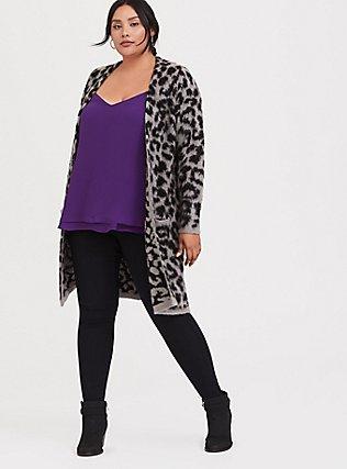 Plus Size Sophie - Purple Chiffon Double Layer Swing Cami, BRIGHT GRAPE, alternate