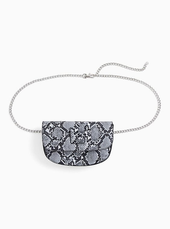 Snake Print Chain Belt Bag, , hi-res