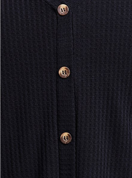 Black Waffle Knit Button Tie Front Tee, DEEP BLACK, alternate