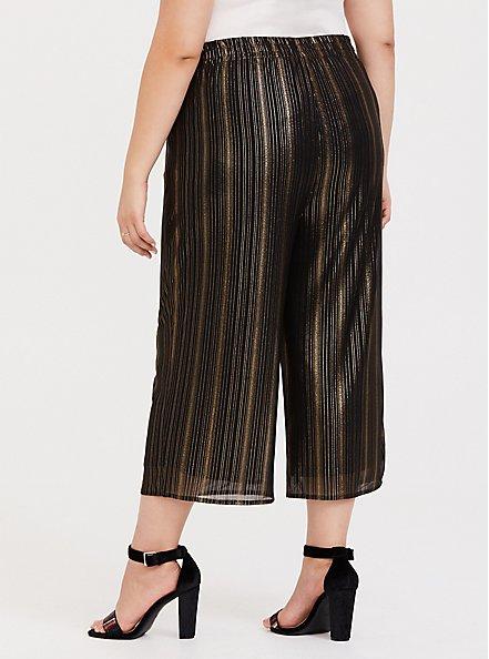 Plus Size Black & Gold Shiny Culotte Pant, DEEP BLACK, alternate