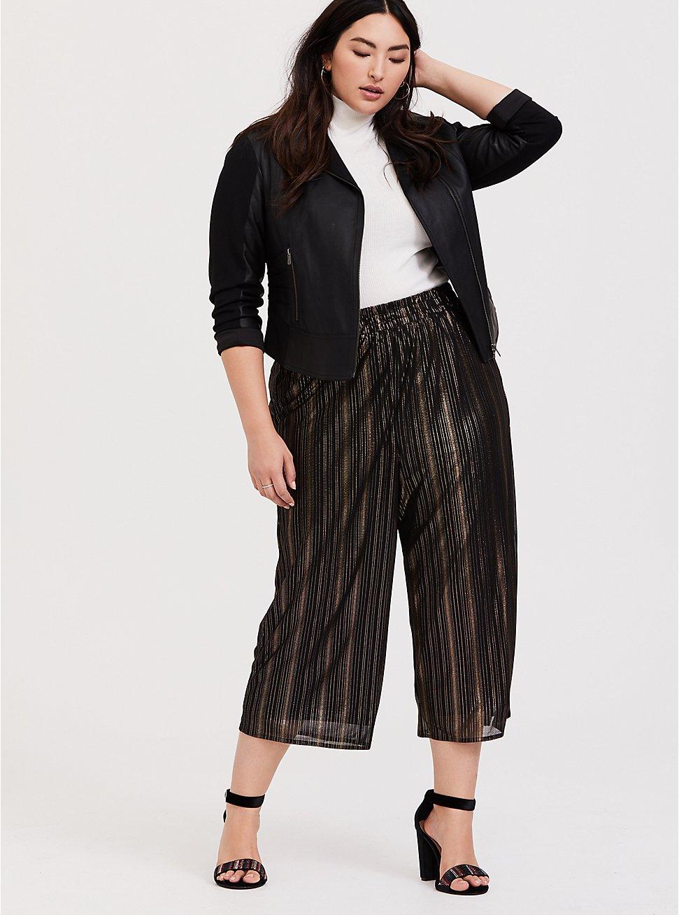 Plus Size Black & Gold Shiny Culotte Pant, DEEP BLACK, hi-res