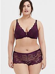 Grape Purple Lace XO Push-Up Plunge Bra, POTENT PURPLE, alternate