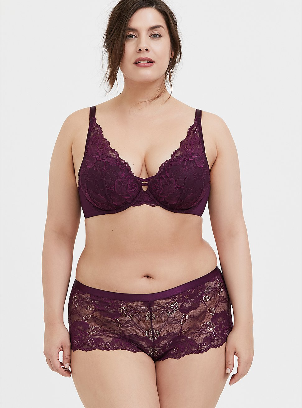 Purple Lace Corset Push-Up Plunge Bra and Cheeky Panty, , hi-res