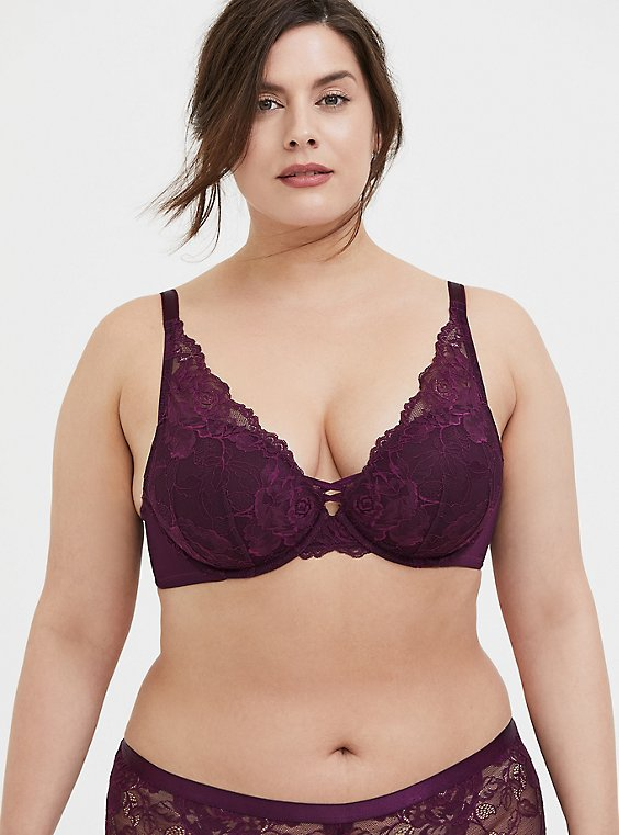 Plus Size Grape Purple Lace Corset Push-Up Plunge Bra, , hi-res