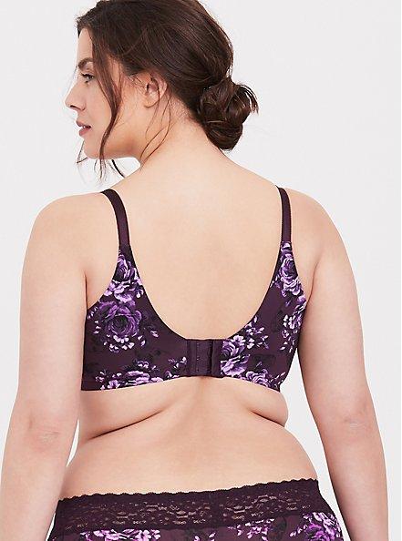 Plus Size Purple Skull Floral 360° Back Smoothing™ Lightly Lined T-Shirt Bra, SKULL GARDENS, alternate
