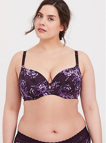 Plus Size Purple Skull Floral 360° Back Smoothing™ Lightly Lined T-Shirt Bra, SKULL GARDENS, hi-res