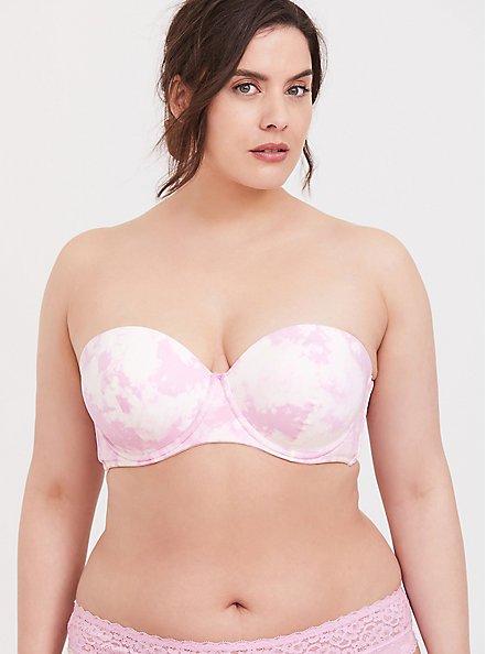 Lilac Pink Tie-Dye Microfiber Push-Up Multiway Strapless Bra, EDGY TIE DYE, hi-res