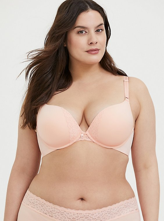 Plus Size Peach 360° Back Smoothing™ Push-Up Plunge Bra, , hi-res