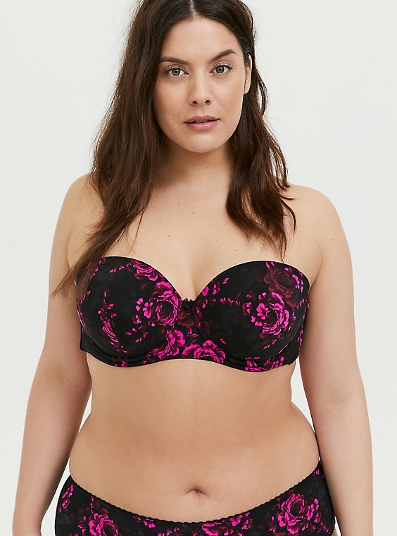 Plus Size Black & Hot Pink Skull Floral Microfiber Push-Up Multiway Strapless Bra, , hi-res