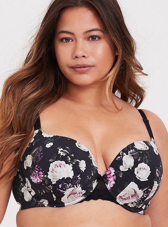 Plus Size Black Floral 360° Back Smoothing™ Push-Up T-Shirt Bra, , hi-res