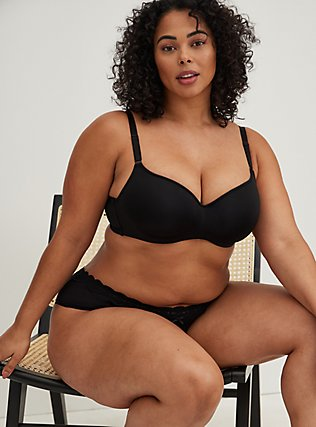 Black 360° Back Smoothing™ Lightly Lined Full Coverage Balconette Bra , RICH BLACK, alternate