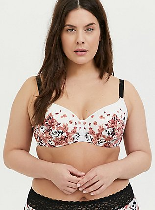 Pink Skull Floral & Black 360° Back Smoothing™ Lightly Lined Full Coverage Balconette Bra, GRACEFUL SKULL, hi-res
