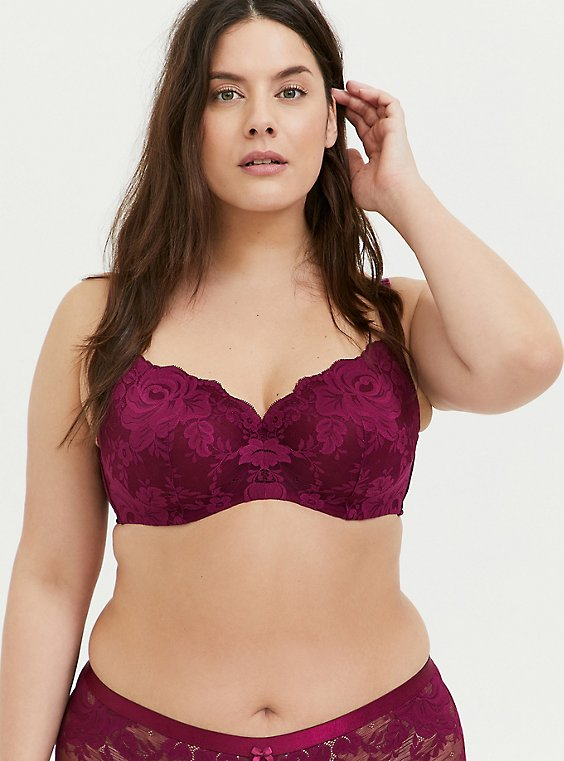 Plus Size Berry Purple Lace 360° Back Smoothing™ Lightly Lined Full Coverage Balconette Bra, , hi-res