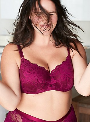 Berry Purple Lace 360° Back Smoothing™ Lightly Lined Full Coverage Balconette Bra, NAVARRA, pdped