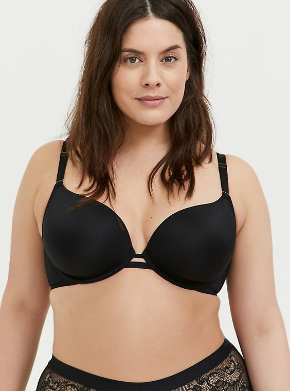 Plus Size Black 360° Back Smoothing™ Lightly Lined Plunge Bra, , hi-res