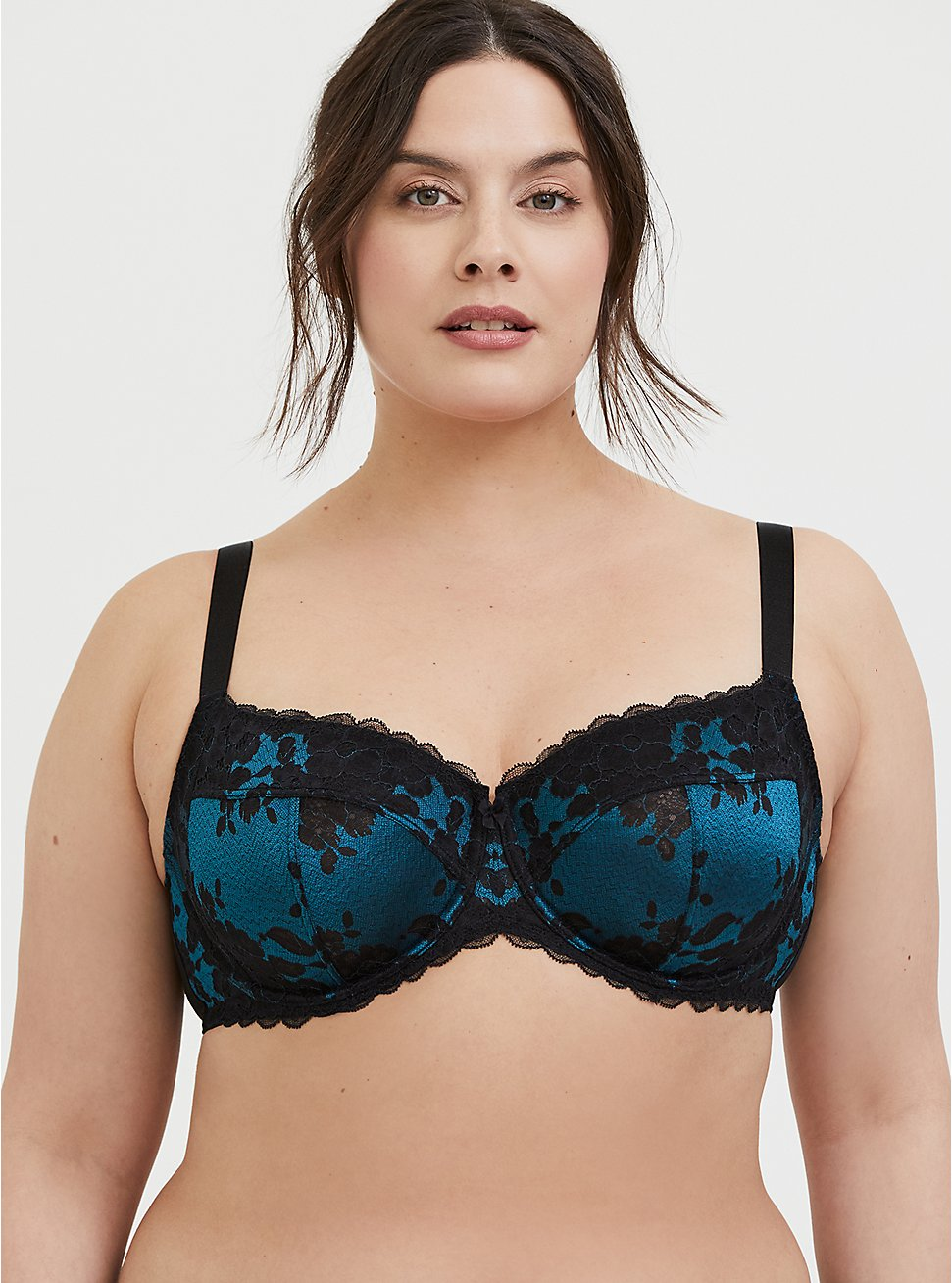 Dark Teal Microfiber & Black Lace Unlined Full Coverage Bra, , hi-res