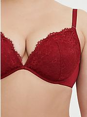 Dark Red Lace 360° Back Smoothing™ Lightly Lined Plunge Bra, RIO RED, alternate