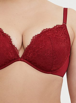 Dark Red 360° Back Smoothing™ Lightly Lined Lace Plunge Bra, RIO RED, alternate
