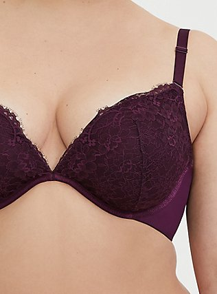 Grape Purple Lace 360° Back Smoothing™ Lightly Lined Plunge Bra, POTENT PURPLE, alternate