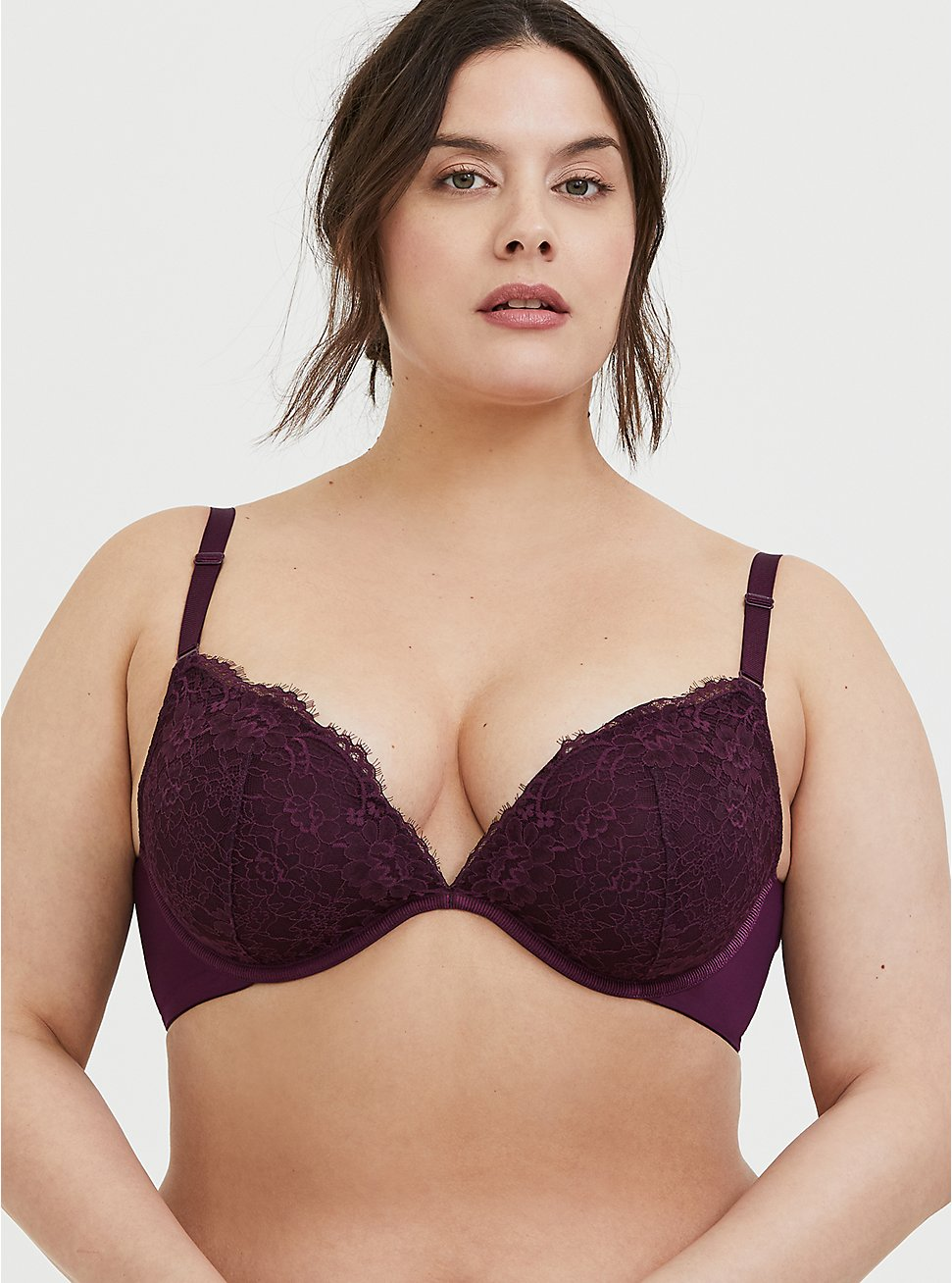 Plus Size Grape Purple Lace 360° Back Smoothing™ Lightly Lined Plunge Bra, POTENT PURPLE, hi-res